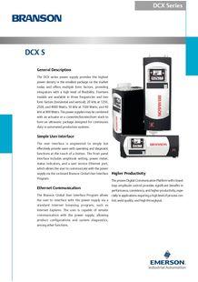 DCX Datanblatt für automatisierte Schweißanwendungen - BRANSON ULTRASONS, MACHINES DE SOUDAGE DES PLASTIQ